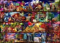 World Travel Book Shelf Digital Art