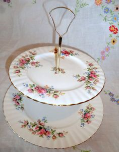 Royal Albert Moss Rose Cake Stand. Two tier by PrettyVintageHome
