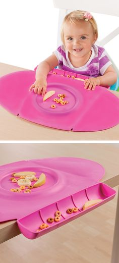Baby Place Mat - Has a scoop to catch food, contains spills and a circular indent in the center that holds food or accommodates most toddler bowls. BPA-free.