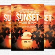 Sunset Summer Festoval - Premium Flyer Template + Facebook Cover http://exclusiveflyer.net/product/sunset-summer-festoval-premium-flyer-template-facebook-cover/