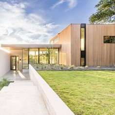 Cedar, concrete and stucco were among the materials used to construct this spacious Texas dwelling: