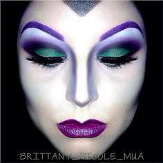 Addicted To Pretty - Brittany Nicole used Sugarpill Poison Plum, Midori and Tako eyeshadows to transform herself into Maleficent. Check out that wicked nose contouring!