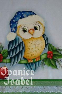 Sweaty the bird Christmas Rock, Christmas Owls, Christmas Drawing, Christmas Crafts, Christmas Ornaments, Owl Clip Art, Owl Art, Tole Painting, Fabric Painting