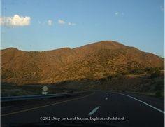 Mountain views while driving through the desert