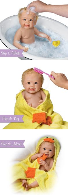 A First! Linda Murray So Truly Real® baby doll has hand-rooted hair and washable RealTouch® vinyl skin. Includes ducky towel and accessories.