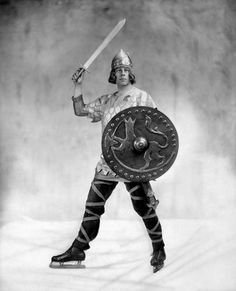 """skating viking: Gail Borden as the Viking Prince, at the Ice Carnival """"In the Island of the Midnight Sun."""" 1930."""