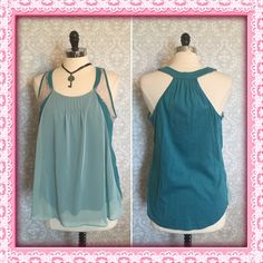 LC flirty girlie lace chiffon a-line spring blouse Sweet racerback tank in shore blue from LC Lauren Conrad. Pleated neckline & lace inserts add feminine details. Cotton, modal body with a sheer lighter teal blue overlay. Size large. NWT LC Lauren Conrad Tops Blouses