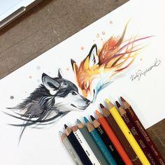 Ilustración de un lobo con un zorro con colores, marcadores y lápices de colores