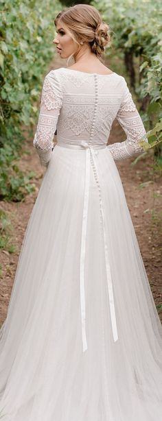 Wonderful Perfect Wedding Dress For The Bride Ideas. Ineffable Perfect Wedding Dress For The Bride Ideas. Boho Wedding Dress With Sleeves, Modest Wedding Gowns, Perfect Wedding Dress, Modest Dresses, Trendy Dresses, Bridal Gowns, Dress Wedding, Long Gown With Sleeves, Sleeved Wedding Dresses