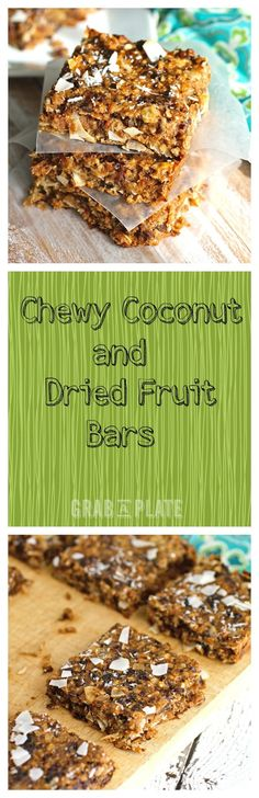 Chewy Coconut and Dried Fruit Bars are perfect as a healthy snack or dessert! Pastry Recipes, Raw Food Recipes, Snack Recipes, Dessert Recipes, Breakfast Recipes, Healthy Recipes, Healthy Foods To Eat, Healthy Treats, Healthy Desserts