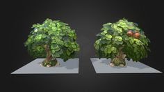 Background lowpoly trees. 2k per tree,  3maps , handpainted over 3d at viewport canvas