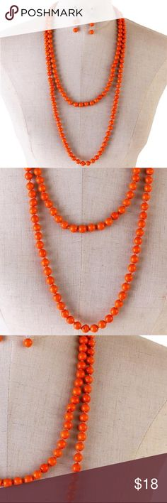 Orange Stone Bead Long Necklace earring set Orange / Stone Bead/ Knots In Between/ Lead Free/ Long Necklace With Matching Earring/60 Inch long 7 yche Jewelry Necklaces