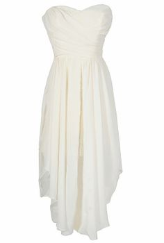 Dana Strapless Chiffon and Lace Midi Dress in Ivory www.lilyboutique.com
