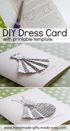 DIY Mothers Day Cards - DIY newspaper Dress Card - Creative and Thoughtful Homemade Card Ideas for Mom