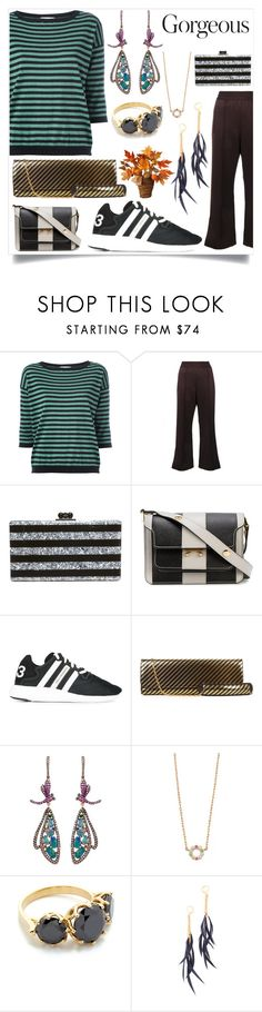 """Striped dress"" by camry-brynn ❤ liked on Polyvore featuring Marc Jacobs, Edie Parker, Marni, Y-3, Balenciaga, Wendy Yue, Jacquie Aiche, Shashi, National Tree Company and stripe"