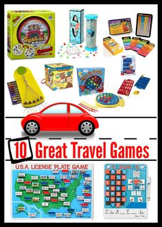 Lots of fun kids travel games for fun on the road.