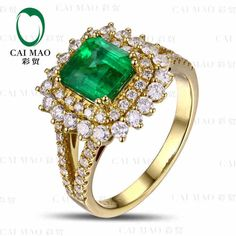 c7476597572f CaiMao 1.63 ct Natural Emerald 18KT 750 Yellow Gold 0.85 ct Full Cut Diamond  Engagement Ring Jewelry Gemstone colombian-in Rings from Jewelry    Accessories ...