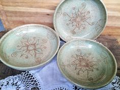 Handmade Organic Nesting Bowls  Pale Speckle by CatsEyePottery