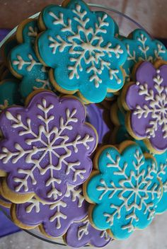 shimmery snowflake cookies - adorable for Frozen themed parties.  I made these myself and thought they came out fantastic!  -Samantha