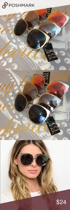 Rose Gold Frame Mirrored Sunglasses Rose Gold Frame Mirrored Sunglasses. Comes in 3 different lens colors as shown in pic 2. Choose your color when checking out Bchic Accessories Sunglasses