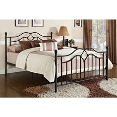 Vintage Metal Bed Frame Brown Brushed Antique Rustic Wrought Iron Cast Style New Tokyo