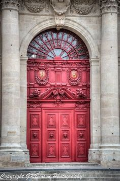 ♅ Detailed Doors to Drool Over ♅ art photographs of door knockers, hardware & portals - Red Door - Paris, France Cool Doors, Unique Doors, The Doors, Windows And Doors, Front Doors, Grand Entrance, Entrance Doors, Doorway, Casa Pop