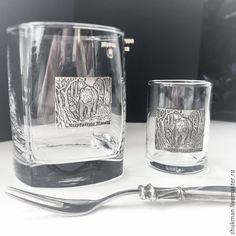 """Купить Набор """"МЕДВЕДЬ. ОХОТА"""" стопка, стакан и закусочная вилочка для охотник - подарок на 23 февраля"""