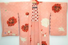 VINTAGE SILK HAORI JACKET:Dynamic Red/White Tree Peony@F51a