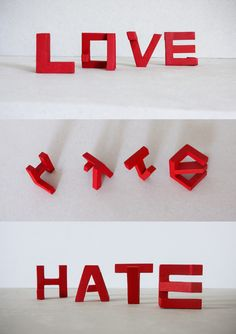 "ingenious typography experiments ""Love & Hate"" by Lex Wilson (Nottingham, UK) that play with space to create opposing words when viewed from different angles Typography Served, Typography Letters, Graphic Design Typography, Lettering, Deco Dyi, Perspective Art, 3d Letters, Illusion Art, Signage Design"