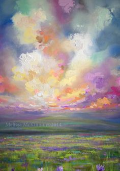 """From Here I Can Go Anywhere"" 48″x36"" Acrylic Painting on Canvas (Detail Image of Sky, Clouds, Mountains and Prairies)"