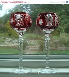 Hungarian Crystal Wine Goblets