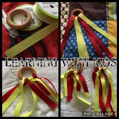 Baby teether- tactile ring with ribbons – Learning with kids