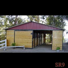 Stall Shedrow Barn shown with: - roof pitch - 12 overhang - 8 eaves - brown frame - grilled stall fronts - enclosed overhang - solid sliding doors - Grand Prix metal Ultra Cool roofing and filler panels Barn Stalls, Horse Stalls, Small Horse Barns, Horse Barn Designs, Horse Shelter, Horse Barn Plans, Farm Plans, Barns Sheds, Dream Barn