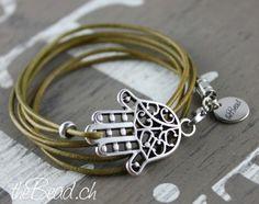"leather bracelet "" hand from fatima ""  // Fatima Hand Armband aus Leder"