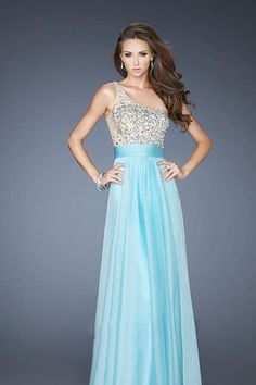 Pretty Prom Dresses 2013 New Arrival Blue A Line One Shoulder Chiffon Floor Length online shop affordable for fashion