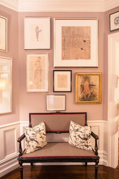 A Look at Andy and Kate Spade's Art Collection: Art Filled Entrance Way with Sitting Bench | coveteur.com
