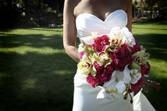 For a mix of tropical and traditional, combine white and yellow orchids with pink peonies for a unique wedding bouquet perfect for a San Diego garden wedding in our lush Pine Hill.