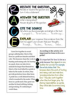 """RACE Writing Response. """"The acronym, RACE, stands for each part of a complete constructed response. There are a few versions out there, but I like this one best: R - restate the answer A - answer all parts of the question C - cite evidence E - explain how your evidence supports your answer."""" """"Here is a great explanation of the strategy (complete with a rubric) from Mrs. Sol's classroom."""" Click on the picture to get to the free download. """"Now that my students know how to use the RACE r"""