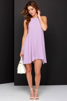 Mink Pink Apron Dress - Lavender Dress - Swing Dress - $71.00