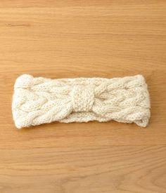 手編みアランニット ヘアバンド(A・ホワイト)