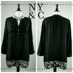 ***New Item*** Elegant Black Tunic NY & CO beautiful black tunic with flower border. 3 button closure at neckline. Roll-Tab sleeve. Very comfortable and forgiving. 97% polyester 3% spandex. New York & Company Tops Tunics