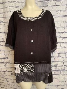 4c06a27b8b8 Women Vintage Kortet Plus Size 24W Black White Zebra Trim Button Down  Blouse Top  Koret