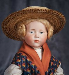 """German Bisque Art Character, 101, by Kammer and Reinhardt ~~~Marks: K*R 101 39. Comments: Kammer and Reinhardt, their art character model marketed as """"Marie"""", circa 1909. Value Points: charming little girl with well-modeled details, fine quality of bisque, original body and body finish."""
