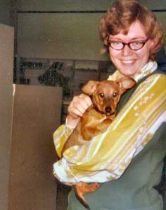 1974 Pam McCord with puppy, Allen County Public Library, Fort Wayne, IN.