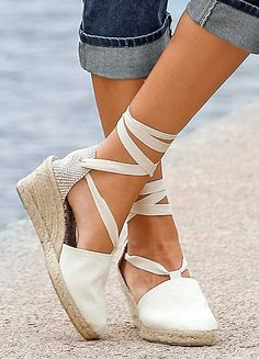 Sand Lace-Up Wedge Espadrilles
