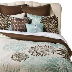 Anya 8 Piece Floral Print Bedding Set - Blue/Brown - MULTI-COLORED