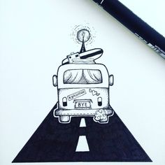 """""""Drive me to the moon"""" Original hand draw illustration."""