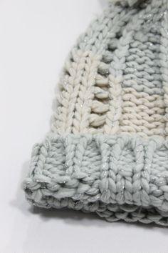 f91a80d4f9c0b Ivy Bobble Hat – Pastel blue and cream with sparkly lurex. Subtle stripe  design.