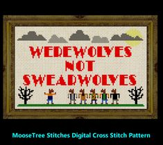 Werewolves not swearwolves Digital cross stitch pattern inspired by movie What we do In the shadows Vampires vs werewolves jemaine clement