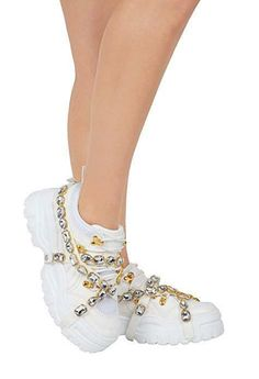 a2a1ee52b23e Cape Robbin CHUNK FEVER White Mesh Trim Jeweled Straps Lug Sole Platform  Sneaker  CapeRobbin